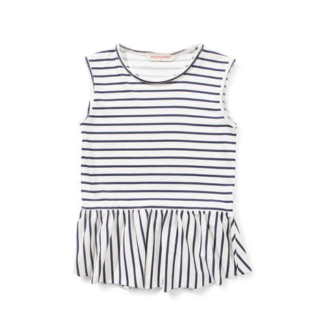 Missie Munster - Girls Cream and Navy Stripe Sam Top | Tops & T-Shirts | Bon Bon Tresor
