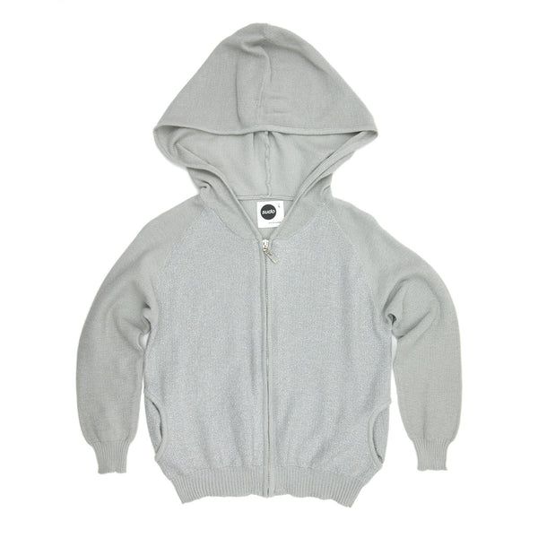 Sudo Kids - Girls Silver Raindance Cotton Knit Hoodie | Sweaters & Knitwear | Bon Bon Tresor