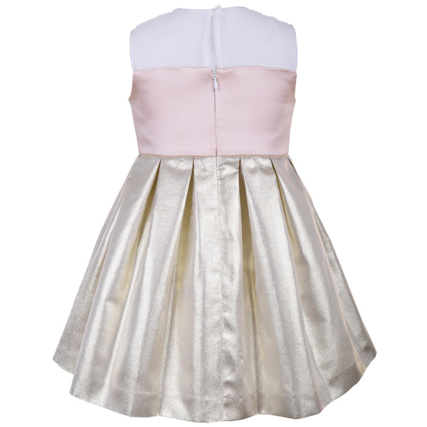 Hucklebones - Girls Metallic Gold Bodice Dress - Bon Bon Tresor - 2