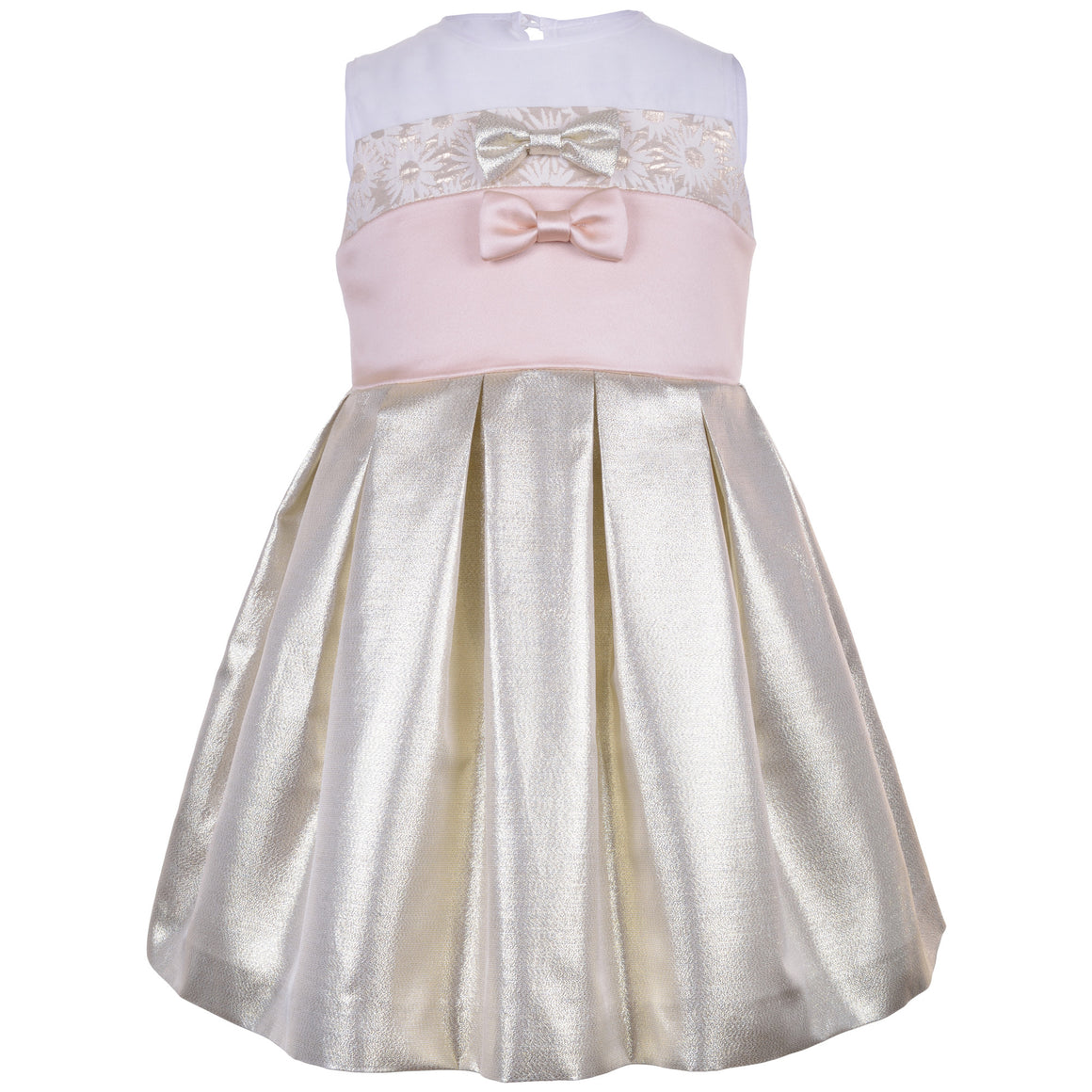 Hucklebones - Girls Metallic Gold Bodice Dress | Party Dresses | Bon Bon Tresor