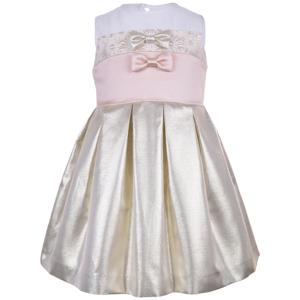 Hucklebones - Girls Metallic Gold Bodice Dress - Bon Bon Tresor - 1