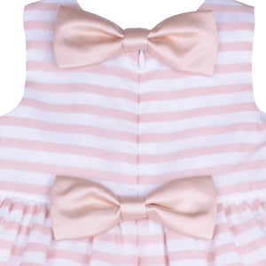 Hucklebones - Baby Girl Pink Organza Stripe Bodice Dress | Party Dresses | Bon Bon Tresor