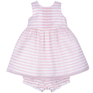 Hucklebones - Baby Pink Organza Stripe Bodice Party Dress | Party Dresses | Bon Bon Tresor