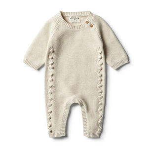 Wilson and Frenchy - Oatmeal Knitted Growsuit with Baubles | Rompers & Playsuits | Bon Bon Tresor