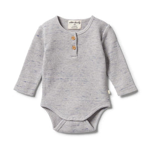 Wilson and Frenchy - Waffle Henley Bodysuit Glacier Grey Fleck | Rompers & Playsuits | Bon Bon Tresor