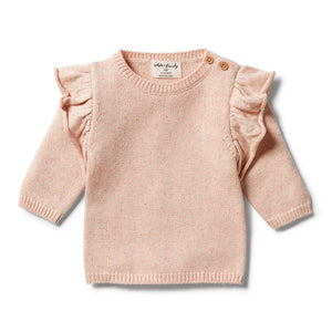Wilson and Frenchy - Knitted Ruffle Jumper Flamingo Oatmeal Fleck | Sweaters & Knitwear | Bon Bon Tresor