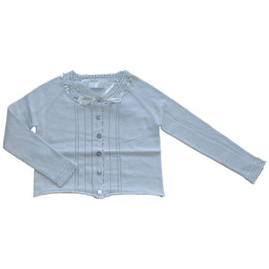 Willow and Finn - Girls Silver Lace Cardigan | Sweaters & Knitwear | Bon Bon Tresor