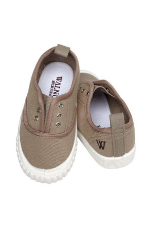Walnut Shoes - Boys Taupe Tennis Shoes | Canvas | Bon Bon Tresor