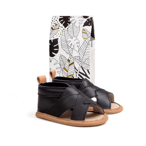 Pretty Brave - Castle Black Cross-Over Sandal | Sandals | Bon Bon Tresor