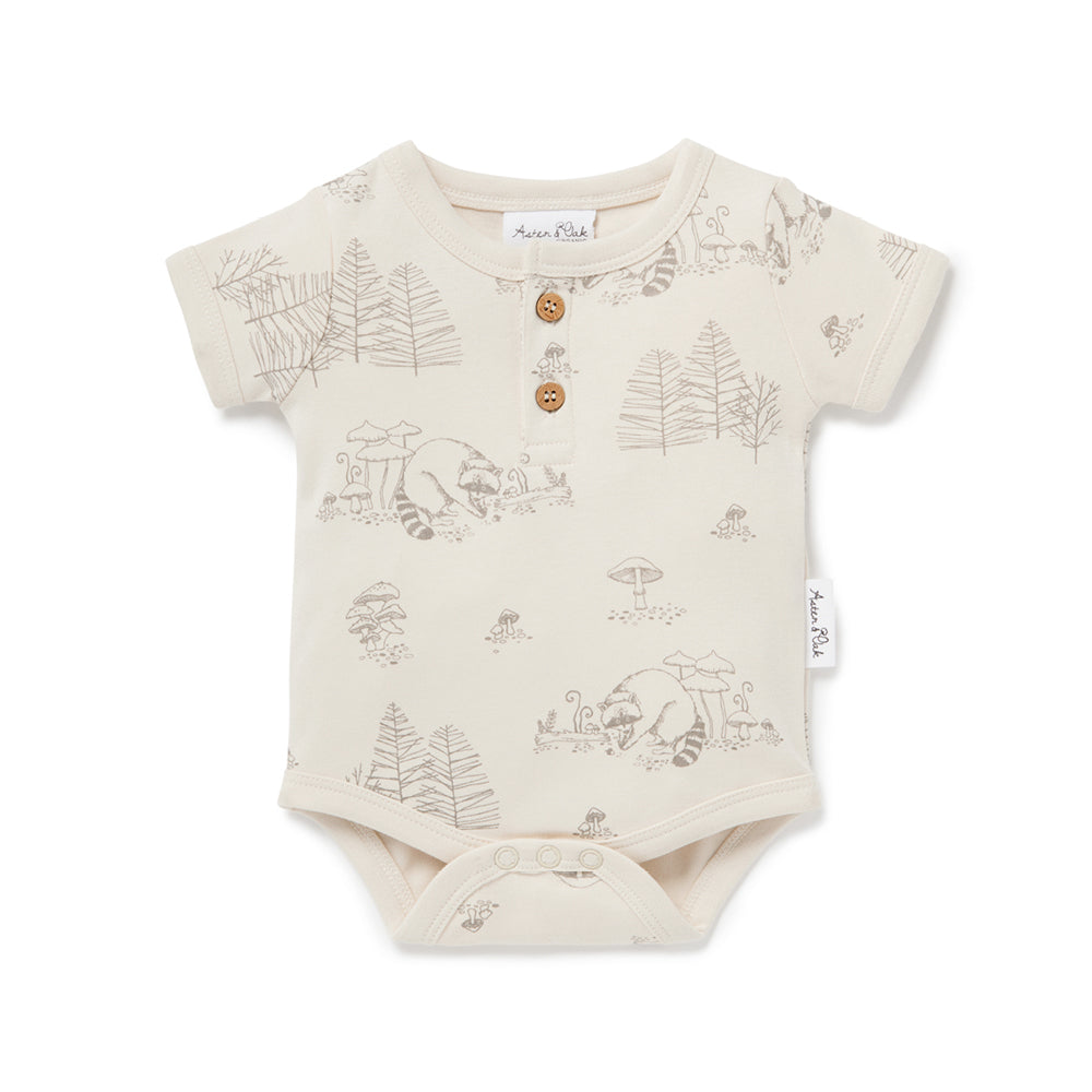 Aster and Oak - Raccoon AOP Henley Onesie | Rompers & Playsuits | Bon Bon Tresor