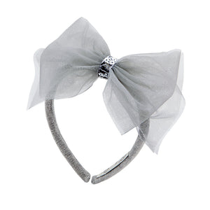 Balloon Chic - Girls Grey Tulle Headband | Hair Accessories | Bon Bon Tresor