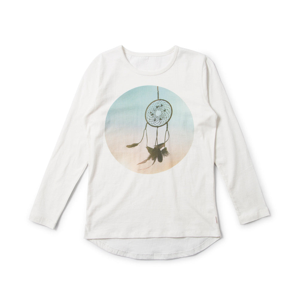 Missie Munster - Girls Cream Digital Print Long Sleeve Top | Tops & T-Shirts | Bon Bon Tresor