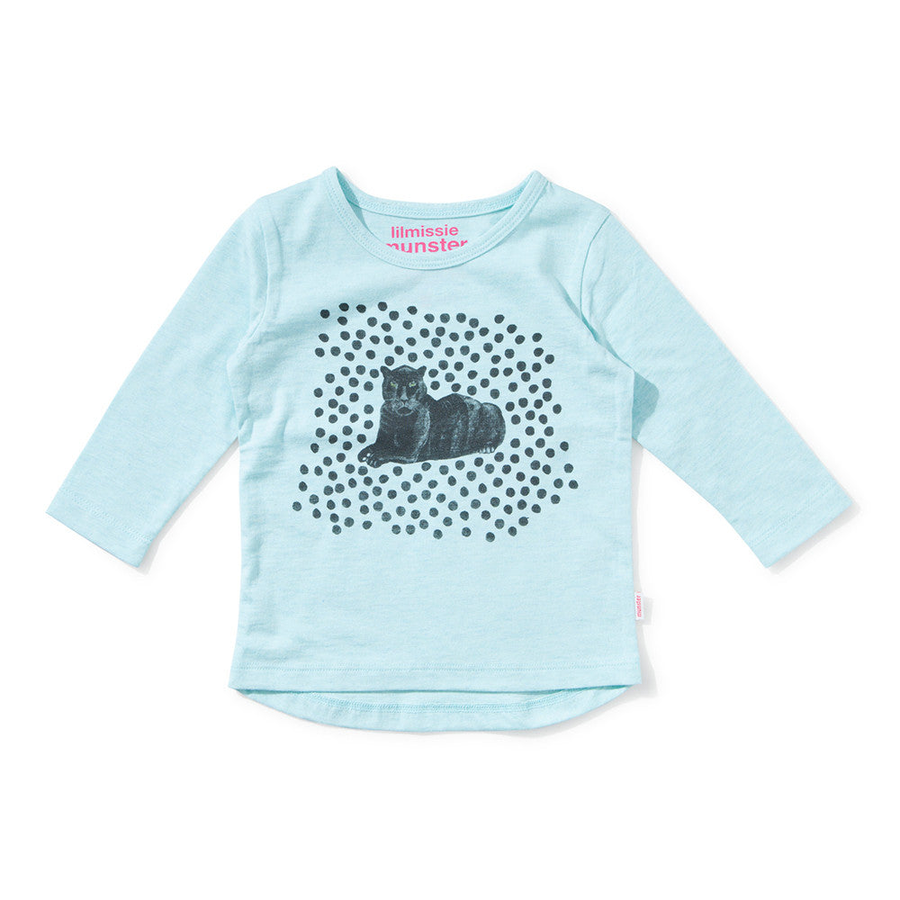 Lil Missie Munster - Baby Girl Aqua Long Sleeve Simba Top | Tops & T-Shirts | Bon Bon Tresor