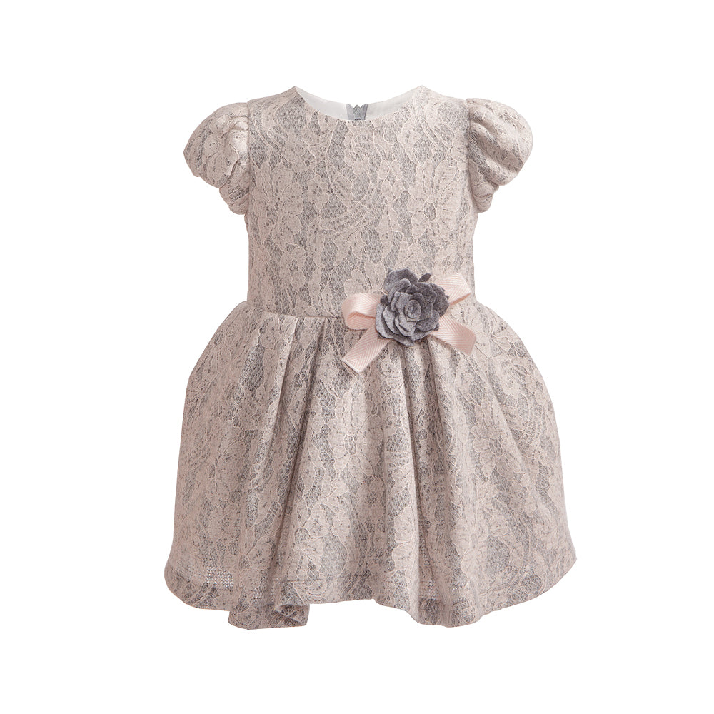 Balloon Chic - Girls Pink and Grey Lace Party Dress | Party Dresses | Bon Bon Tresor