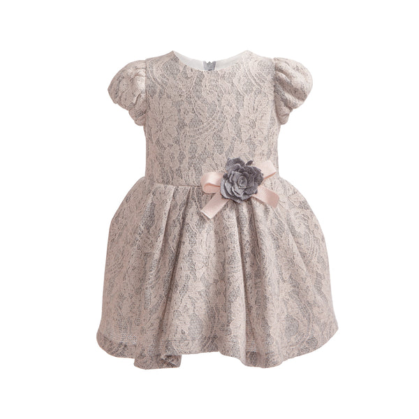 Balloon Chic - Girls Pink and Grey Lace Dress | Party Dresses | Bon Bon Tresor