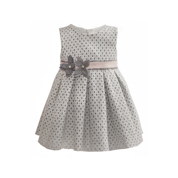 Balloon Chic - Girls White and Grey Party Dress