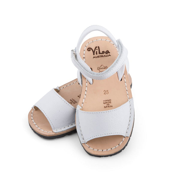 Vila Australia - Girls White Leather Sandal | Dress Shoes | Bon Bon Tresor
