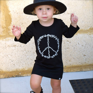 Little Lords - Girls Black Peace Raglan Dress | Dresses & Skirts | Bon Bon Tresor