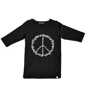 Little Lords - Black Peace Raglan Dress | Dresses & Skirts | Bon Bon Tresor