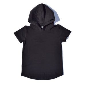 Little Lords - Black Quilted Hooded Tee | Tops & T-Shirts | Bon Bon Tresor