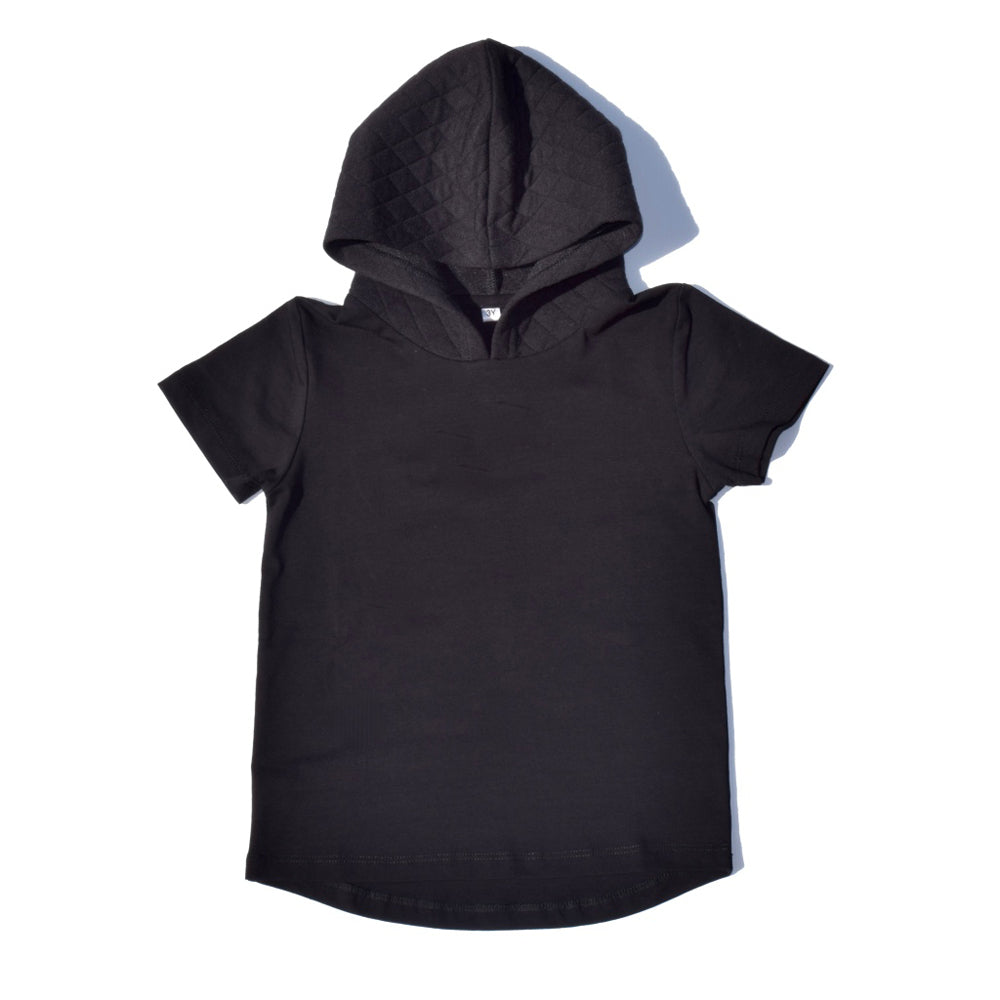 Little Lords - Boys Black Quilted Hooded Tee | Tops & T-Shirts | Bon Bon Tresor
