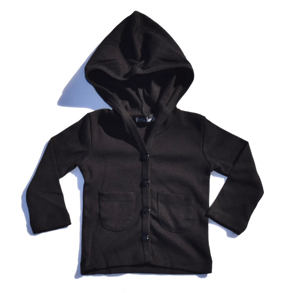 Little Lords - Boys Black Hoodlum Cardigan | Sweaters & Knitwear | Bon Bon Tresor