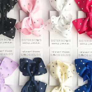 Sister Bows - Girls Assorted Crystal Studded Bow Hair Clip | Hair Accessories | Bon Bon Tresor