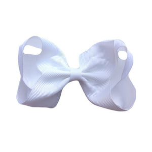 Sister Bows - Girls White Grosgrain Bow Hair Clip | Hair Accessories | Bon Bon Tresor