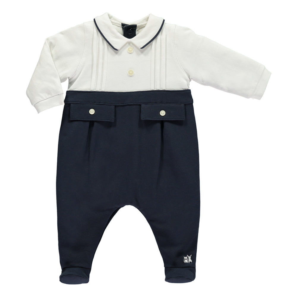 Emile et Rose - Baby Boy Navy All In One | Rompers | Bon Bon Tresor