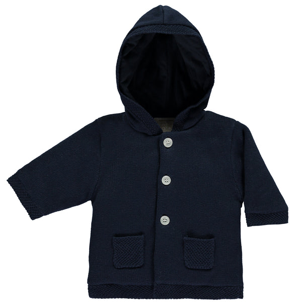 Emile et Rose - Baby Boy Navy Knit Hooded Jacket | Coats & Jackets | Bon Bon Tresor