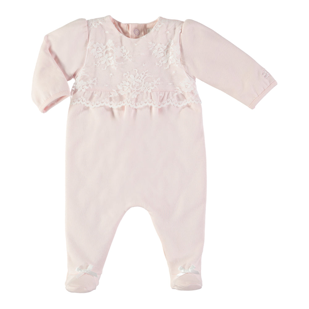 Emile et Rose - Baby Girl Pink Lace All In One | Rompers & Playsuits | Bon Bon Tresor