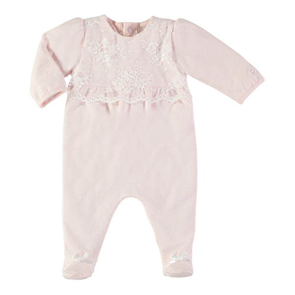 Emile et Rose - Baby Girl Pink Lace All In One | Rompers | Bon Bon Tresor