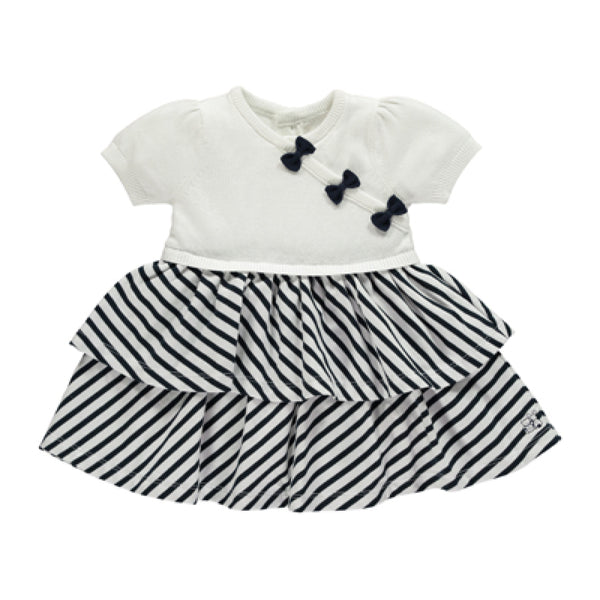 Emile et Rose - Baby Girl Navy True knit Upper & Striped Dress