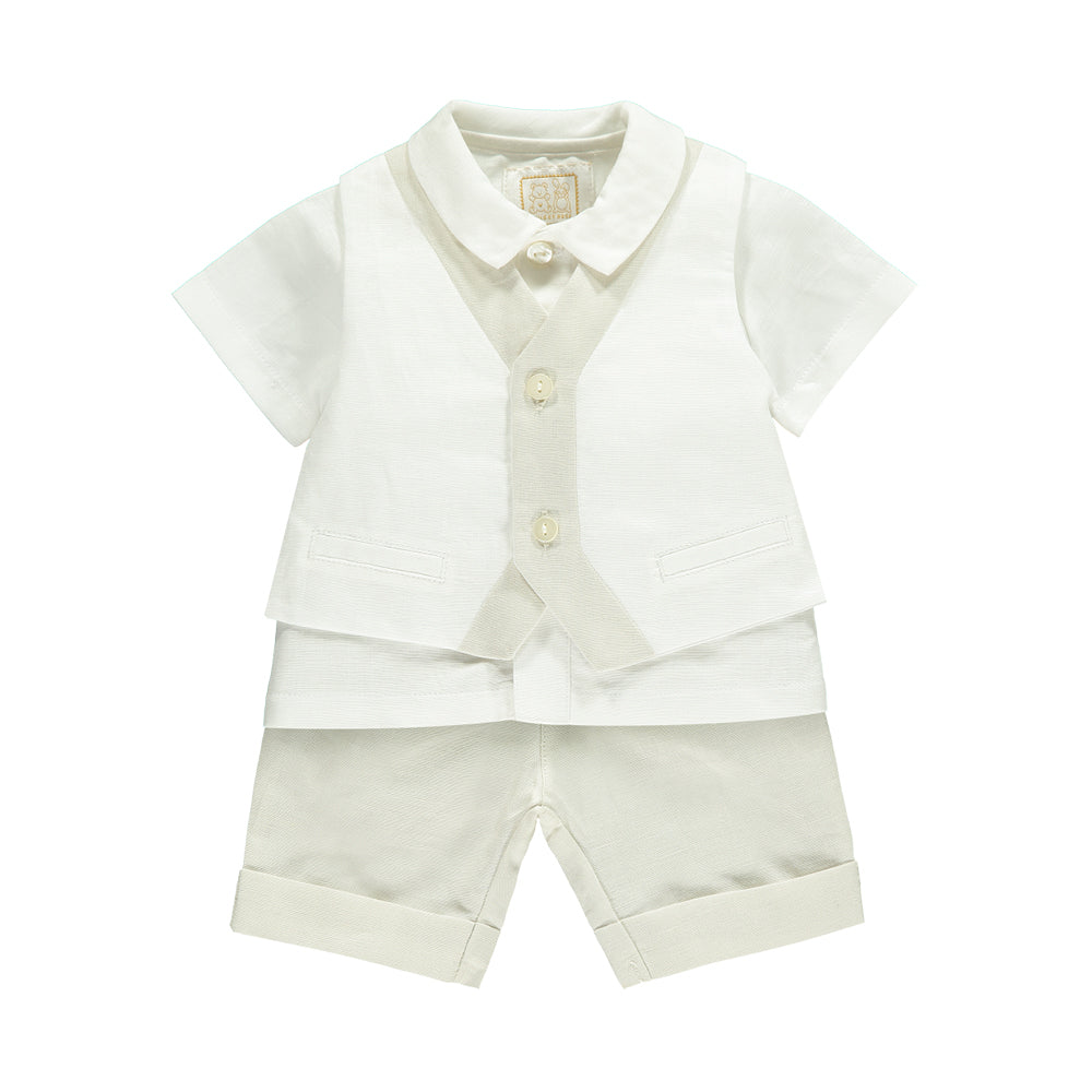 Emile et Rose - Baby Boy Linen Waistcoat with Shirt, Shorts | Special Occasion | Bon Bon Tresor