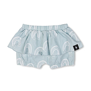 Kapow Kids - Girls Chambray Rainbow Ruffle Shorts | Pants & Shorts | Bon Bon Tresor