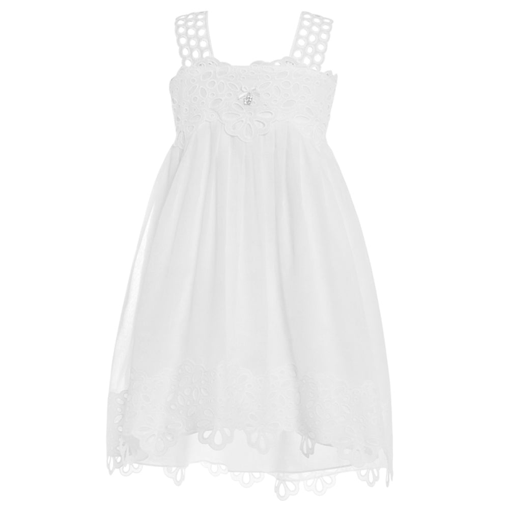 Balloon Chic - Girls White Anglais Lace Dress | Party Dresses | Bon Bon Tresor