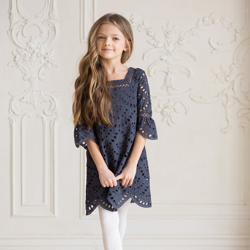 d201f31fad5 Marlo Kids - Girls Navy Hunter Dress - Bon Bon Tresor