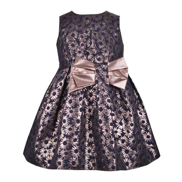Hucklebones London - Girls Metallic Daisy Jacquard Bodice Dress | Party Dresses | Bon Bon Tresor