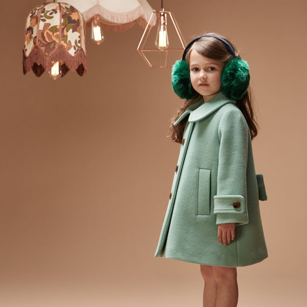296b2d3e6 Hucklebones London - Girls Wool Swing Coat - Bon Bon Tresor