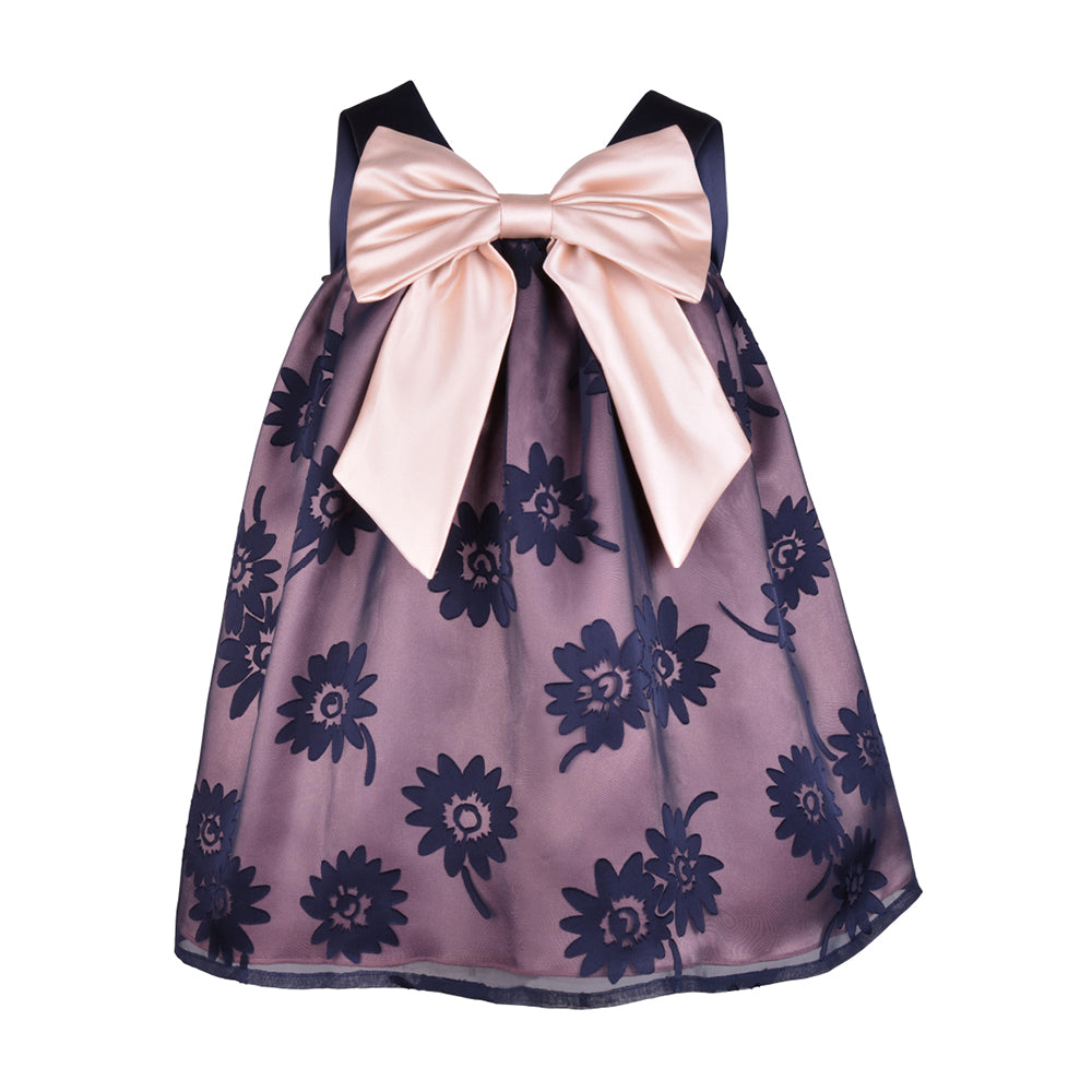 Hucklebones London - Girls Sheer Floral Trapeze Dress | Party Dresses | Bon Bon Tresor