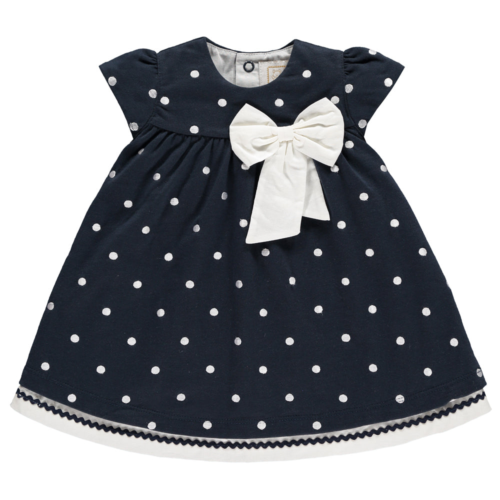 Emile et Rose - Baby Girl Navy Spot Dress | Dresses & Skirts | Bon Bon Tresor