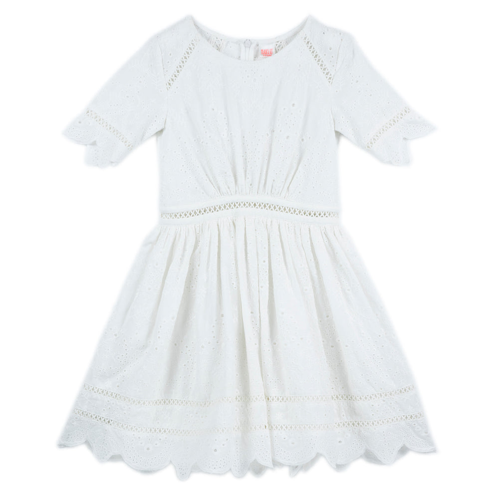 Marlo Kids - Girls White Anglais Dress | Dresses & Skirts | Bon Bon Tresor