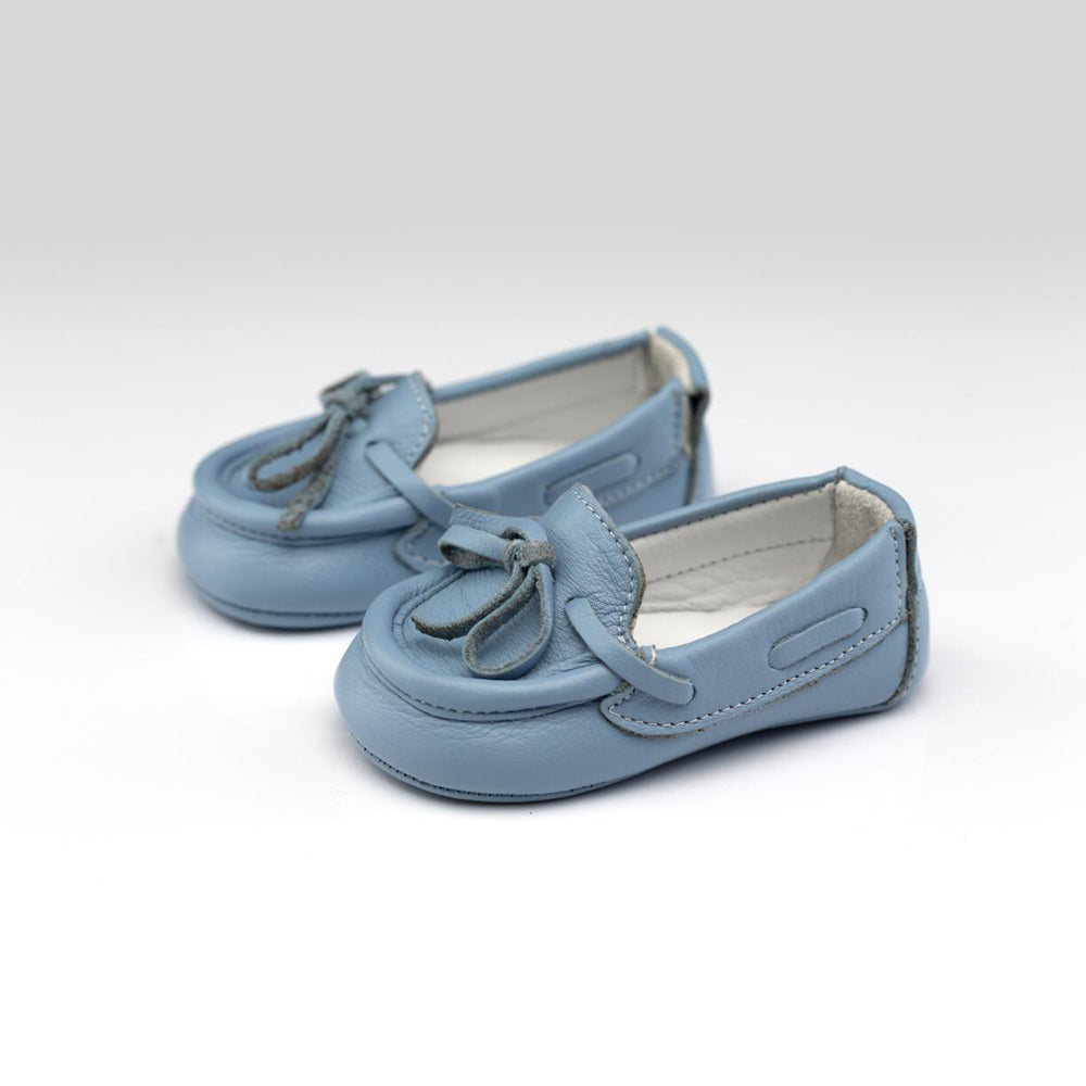 Woopy - Bebe Baby Blue Moccasins | Moccasins & Loafers | Bon Bon Tresor