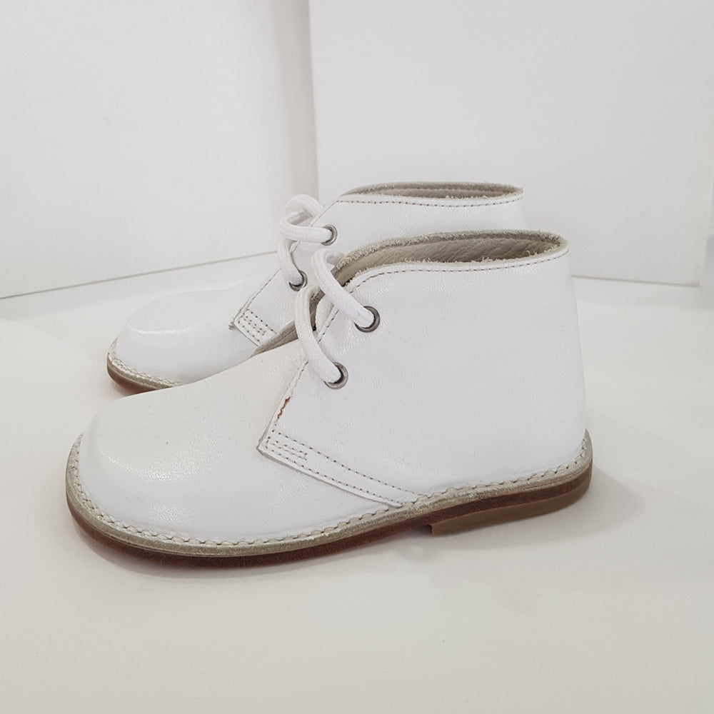 Morello Shoes - Toddler White Leather Bootie | Dress Shoes | Bon Bon Tresor