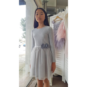 Balloon Chic - Girls Slivery Grey Tulle Dress | Party Dresses | Bon Bon Tresor