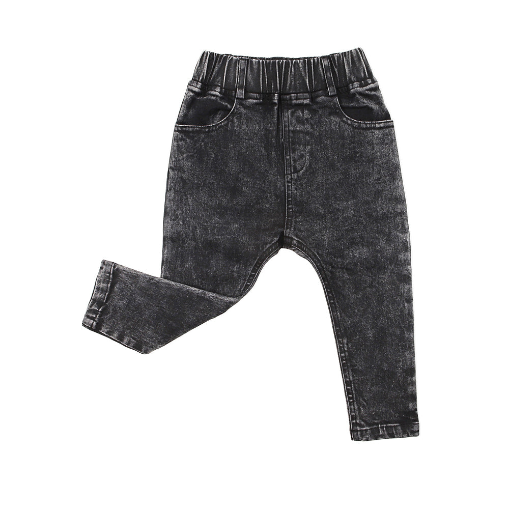 Kapow Kids - Baby Boy Black Acid Stretch Denim Jeggings | Pants & Shorts | Bon Bon Tresor