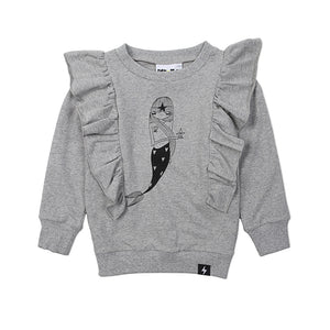 Kapow Kids - Baby Girl Mermaid Placement Ruffle Sweater | Sweaters & Knitwear | Bon Bon Tresor