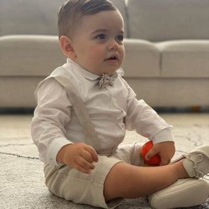 Barcellino - White and Beige Linen Shorts Suit | Christening Suits & Sets | Bon Bon Tresor