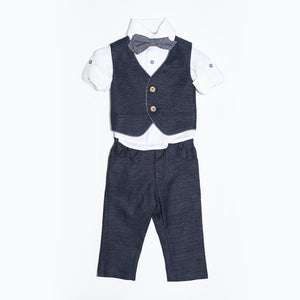 Dolce Bambini - Baby Boy 4 Piece Navy Linen Suit | Christening Suits & Sets | Bon Bon Tresor