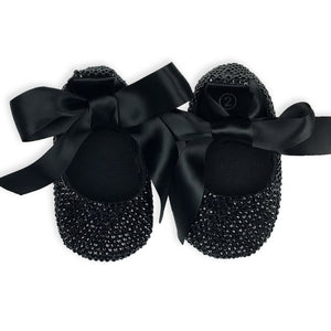 La Vera Kids - Baby Girl Black Crystal Ballet Shoes | Dress Shoes | Bon Bon Tresor